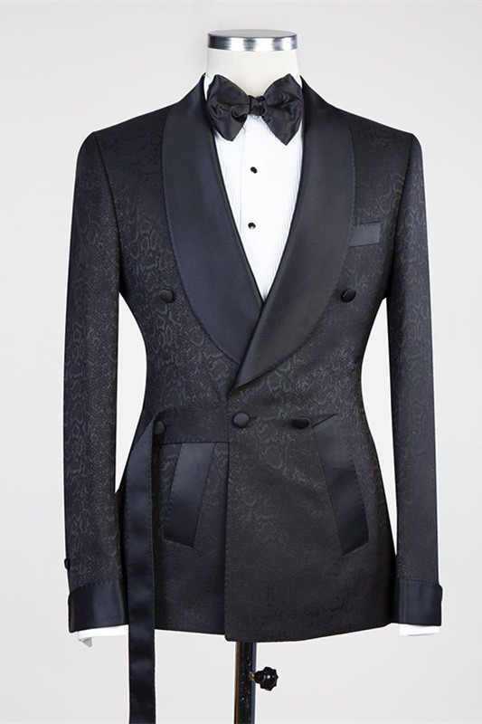 Ernesto Black Double Breasted Shawl Lapel Jacuqard Wedding Suit