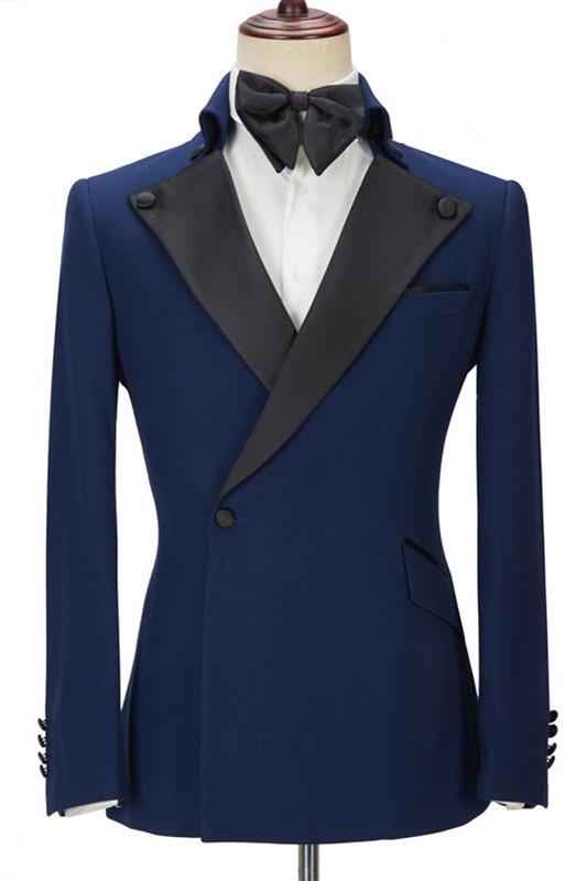 Davion Dark Navy Peak Lapel Two Pieces Stylish Men Suit for Prom