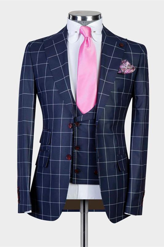 Justice Dark Navy Plaid Peaked Lapel Slim Fit Men Suits for Business