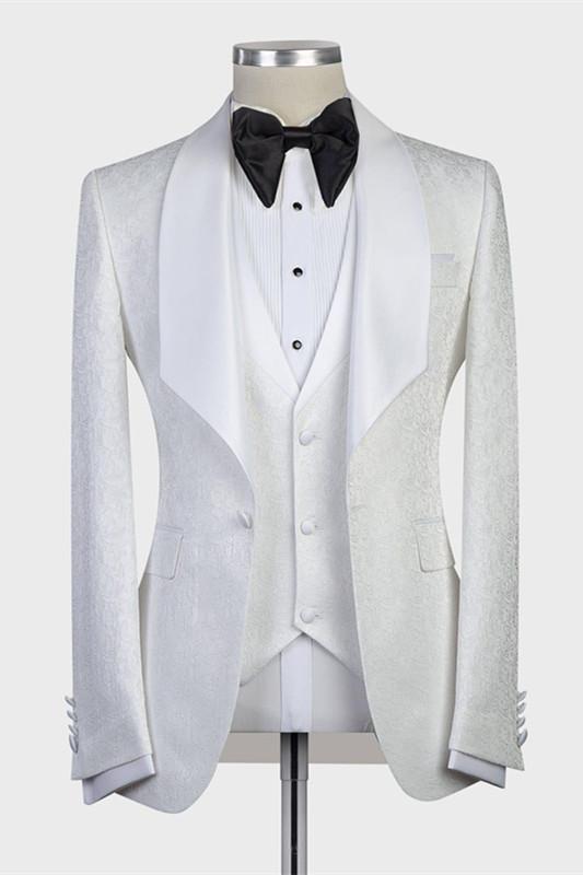 Jacoby Bespoke Three-Pieces White Jacquard Shawl Lapel Wedding Tuxedo