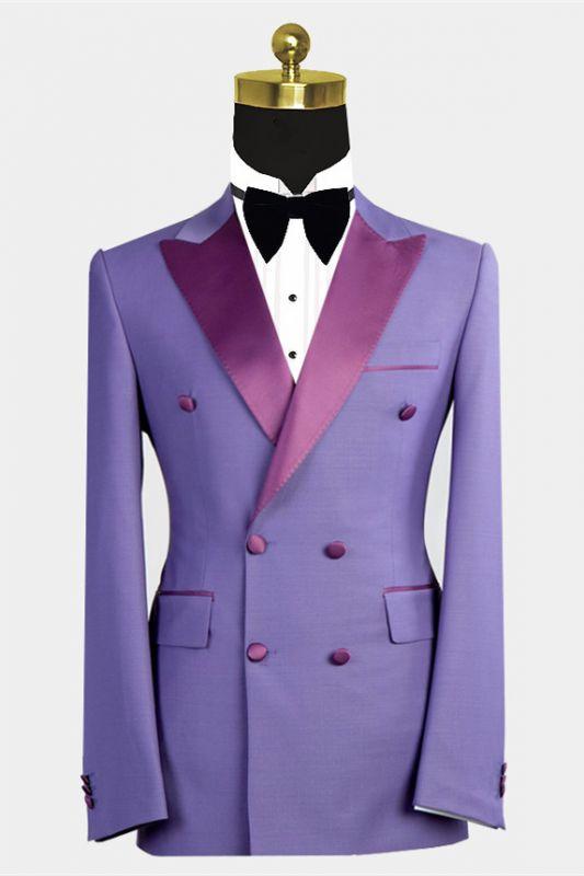 Nickolas Stylish Peaked Lapel Purple Bespoke Double Breasted Men Suits
