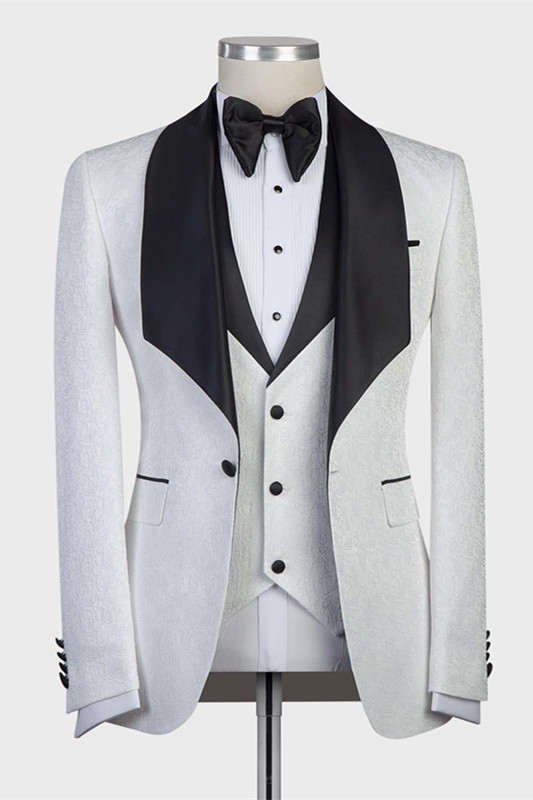 Paxton White Three-Pieces Jacaquard Wedding Groom Suits with Black Shawl Lapel