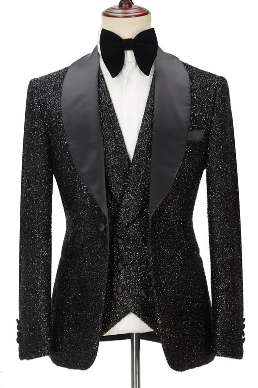Kane Sparkly Black Three Pieces Shawl Lapel Bespoke Wedding Suit for Men