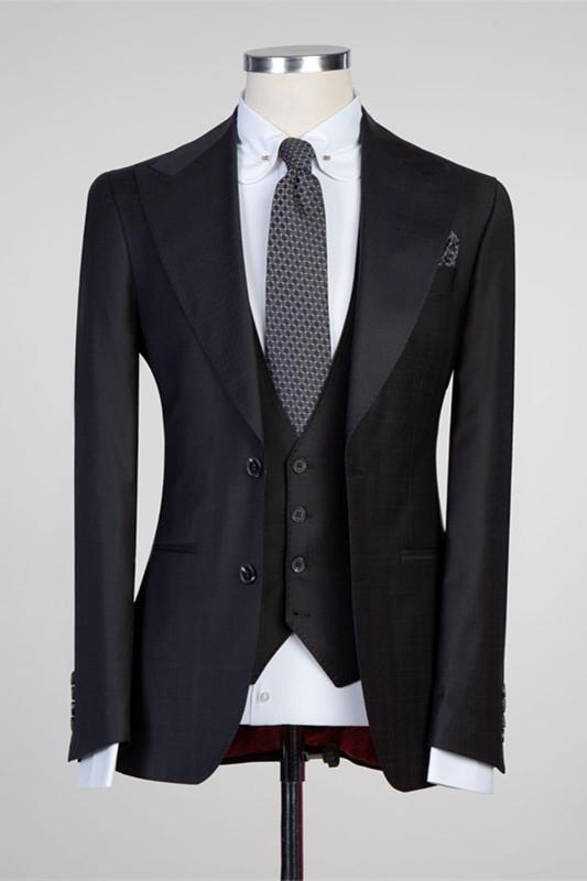 Tate Simple Black Peaked Lapel Fashion Slim Fit Formal Men Suits