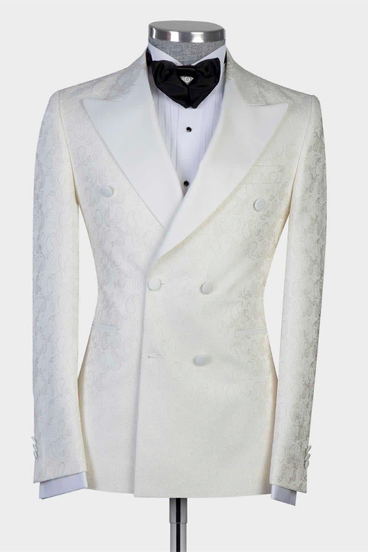 Mekhi White Jacquard Double Breasted Peaked Lapel Wedding Suit for Men
