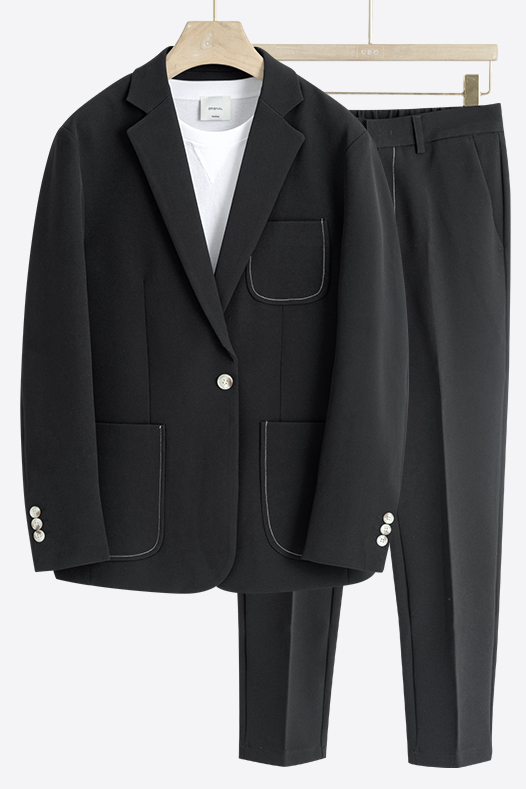 Jay Black One Button Loose Fashion Summer Men Suits