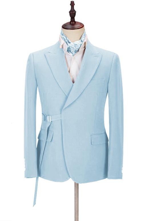 Justin Bespoke Sky Blue Peaked Lapel Men Suits with Adjustable Buckle