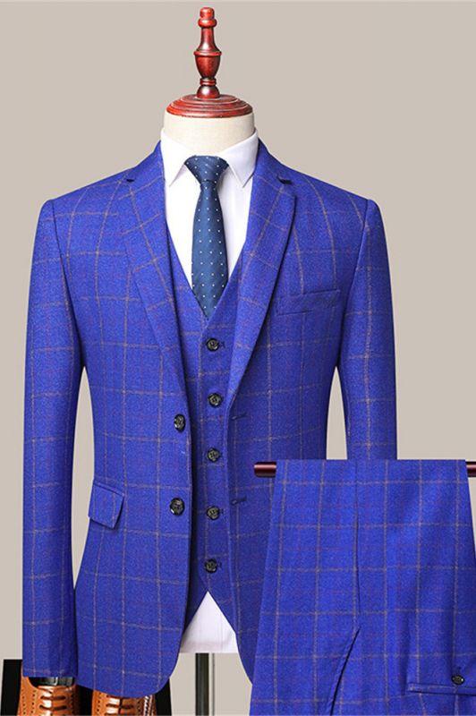 Reece Royal Blue Stylish Plaid Slim Fit Formal Men Suits