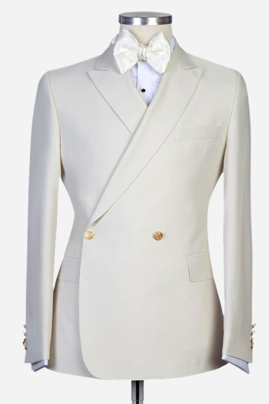 Lawrence New Arrival White Peaked Lapel Slim Fit Men Suits for Wedding