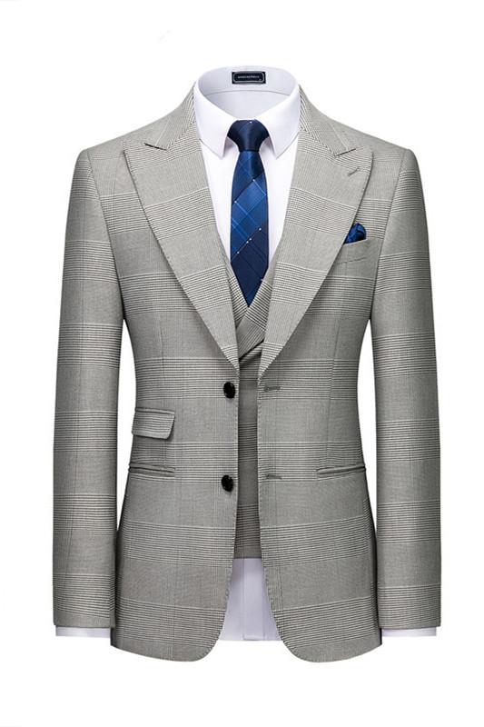 Titus Gray Plaid Fashion Peaked Lapel Slim Fit Men Suit for Prom