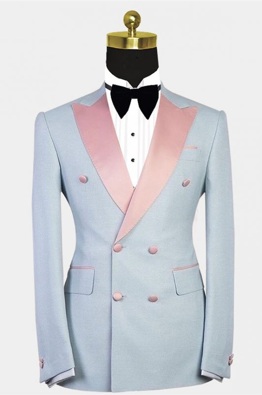 Colten Handsome Double Breasted Contrast Color Men Suit with Peaked Lapel