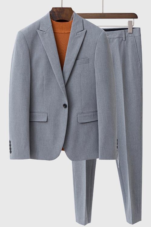 Landyn Gray Bespoke Fashion Peaked Lapel Loose Men Suits