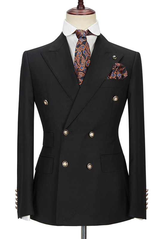 Black Men Suits Online | Peak Lapel Blazer with Double Breasted