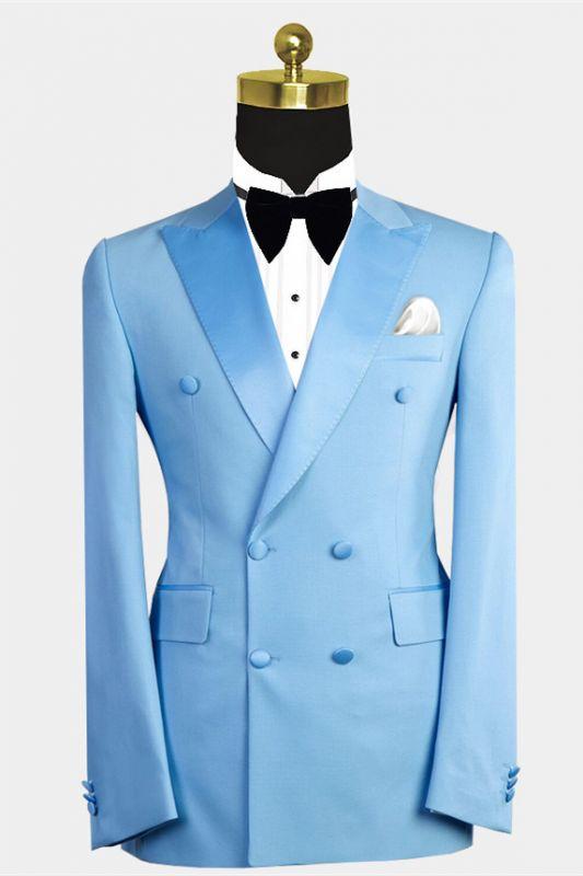 Phoenix Fashion Blue Peaked Lapel Double Breasted Men Suits