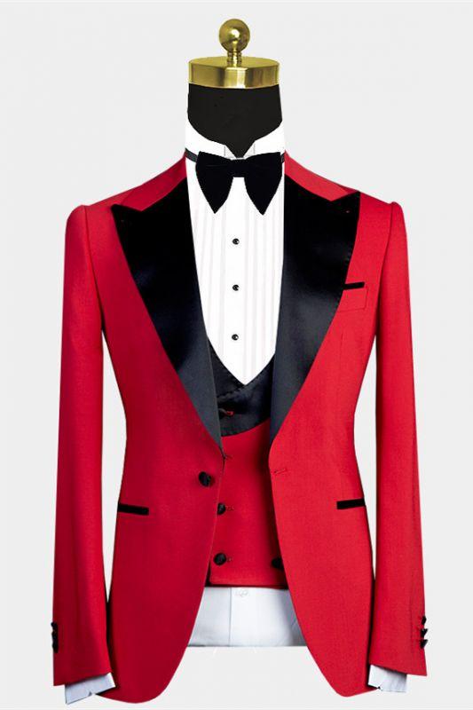 Davis Red Peaked Lapel Slim Fit Men Suit with Black Lapel
