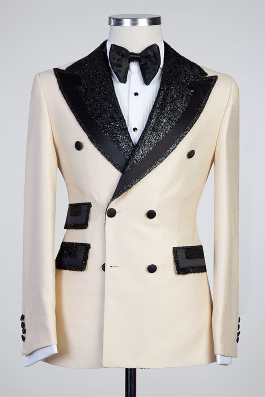 Kristopher Stylish Peaked Lapel Double Breasted Bespoke Men Suits
