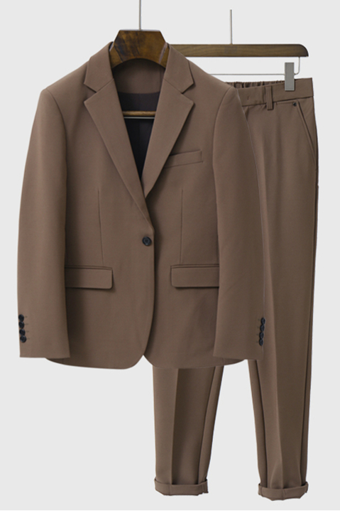 Yahir Brown Stylish Peaked Lapel One Button Men Suits for Summer
