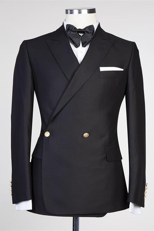 Solomon Stylish Black Peaked Lapel New Arrival Men Suits for Prom
