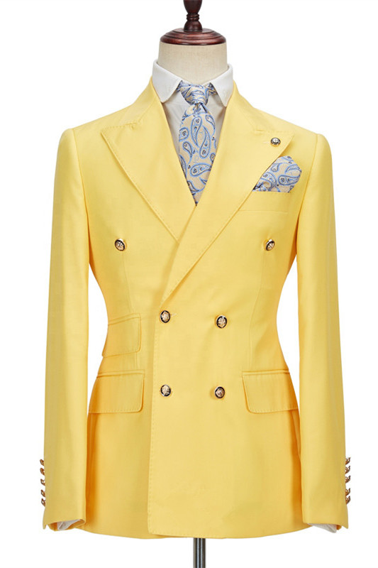 Brodie Yellow Double Breasted Peaked Lapel Slim Fit Bespoke Men Suits