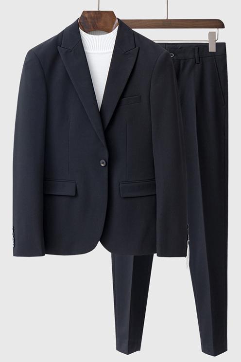 Beau Black Peaked Lapel Fashion One Button Summer Men Suits