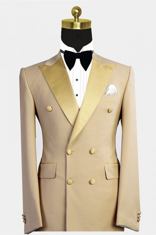 Reed Gold Peaked Lapel Double Breasted Bespoke Men Suit for Prom