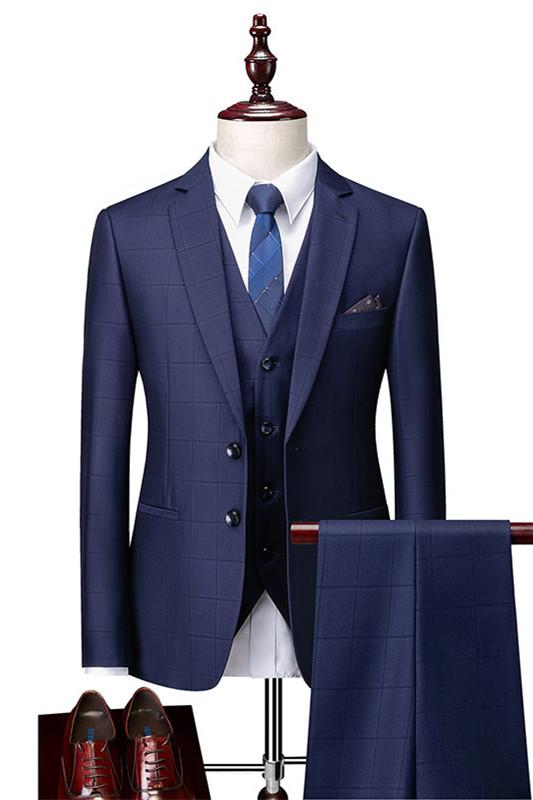 Javon Dark Navy Plaid Slim Fit Three Pieces Notch Lapel Men Suits