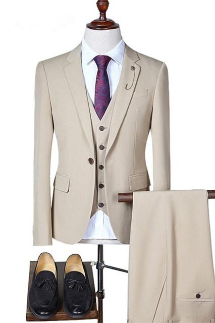 Eddie Three Pieces Notched Lapel Formal Business Men Suits