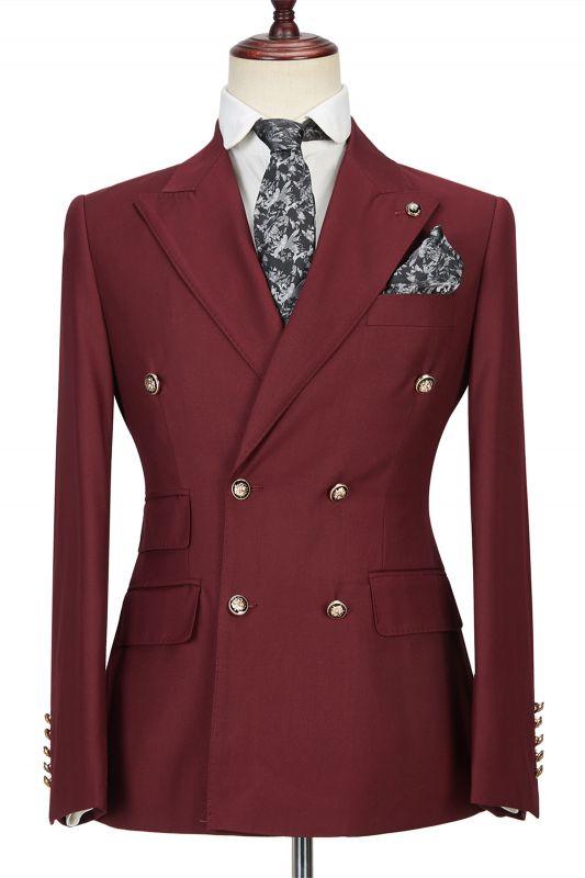 Luman Stylish Double Breasted Burgundy Peak Lapel Men's Formal Suit