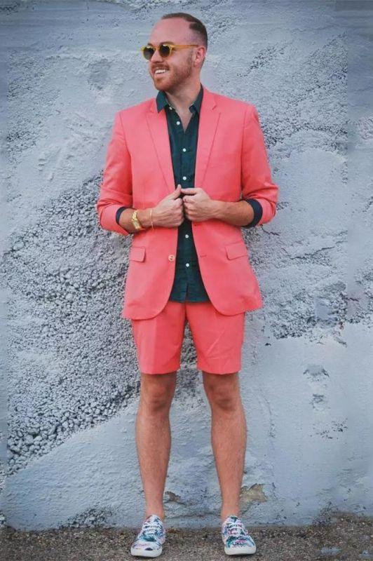 Marc Summer Orange Notched Lapel Men Suit with Short Pants