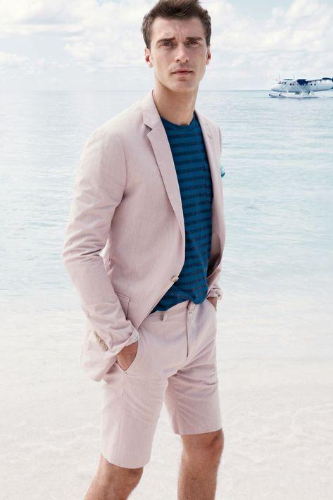 Sam Summer Pink Fashion Simple Notched Lapel Men Suits