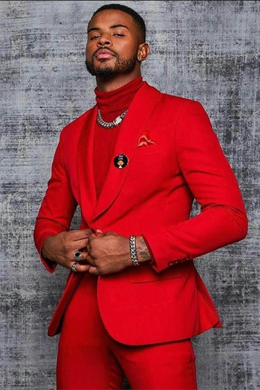 Isiah Stylish Red Shawl Lapel One Button Men Suits