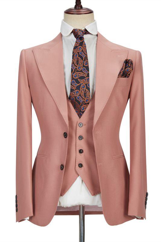 Ivan 3 Piece Coral Pink Two Buttons Peak Lapel Stylish Men's Suit