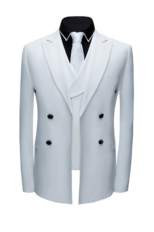 Jonathon Stylish White Notched Lapel Double Breasted Formal Men suits
