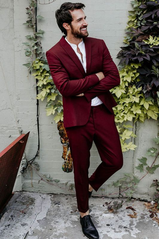 Chad Regular Burgundy Peaked Lapel Fashion Prom Outfits