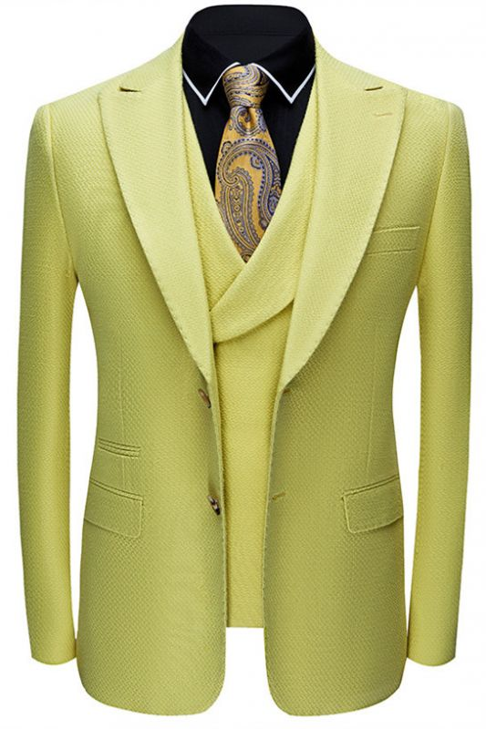 Jasper Yellow Three Pieces Peaked Lapel Fashion Prom Suits for Men