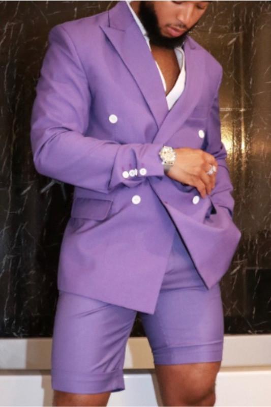 Javon Purple Peaked Lapel Double Breasted Bespoke Men Suits