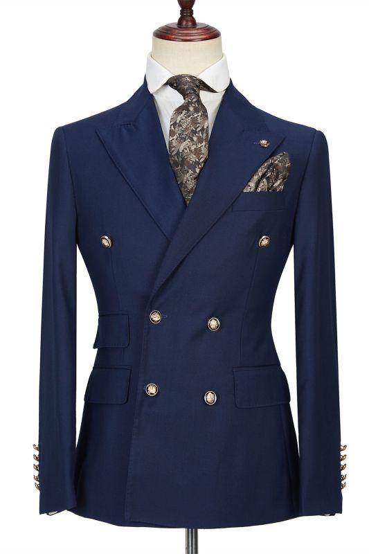 Morris Dark Navy Peak Lapel Double Breasted Formal Men's Suit for Prom