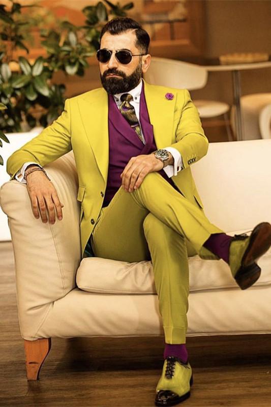 Chandler Bespoke Yellow Slim Fit Peaked Lapel Prom Men Suits