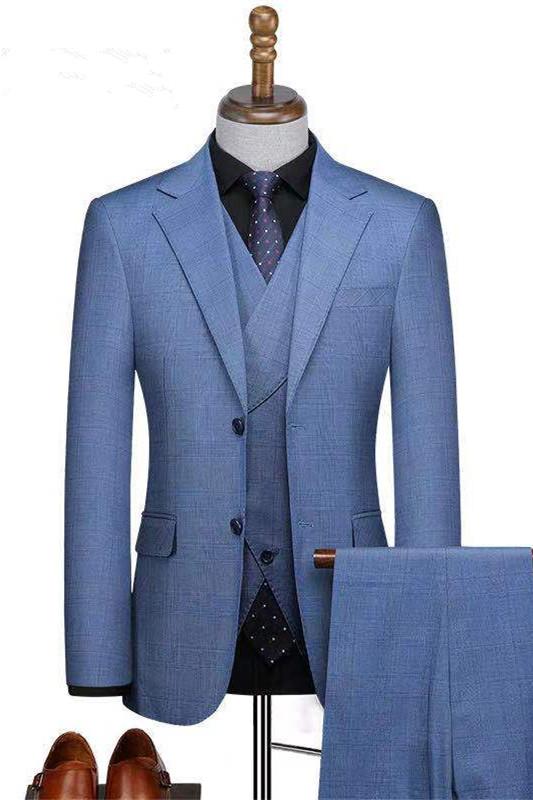 Zachariah Fashion Blue Three-Pieces Slim Fit Notched Lapel Business Suits