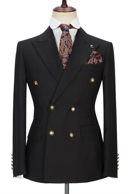 Percy Classic Black Double Breasted Men's Formal Suit with Peak Lapel