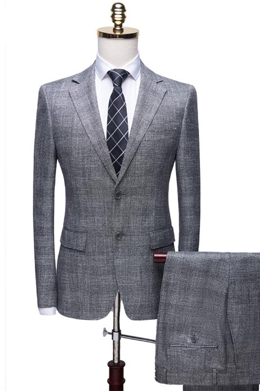 Dorian Simple Gray Notch Lapel Plaid Two Pieces Formal Business Men Suits