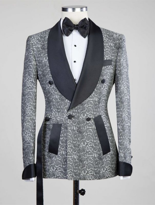 Khalil Gray Double Breasted Jacquard Wedding Men Suits with Black Lapel