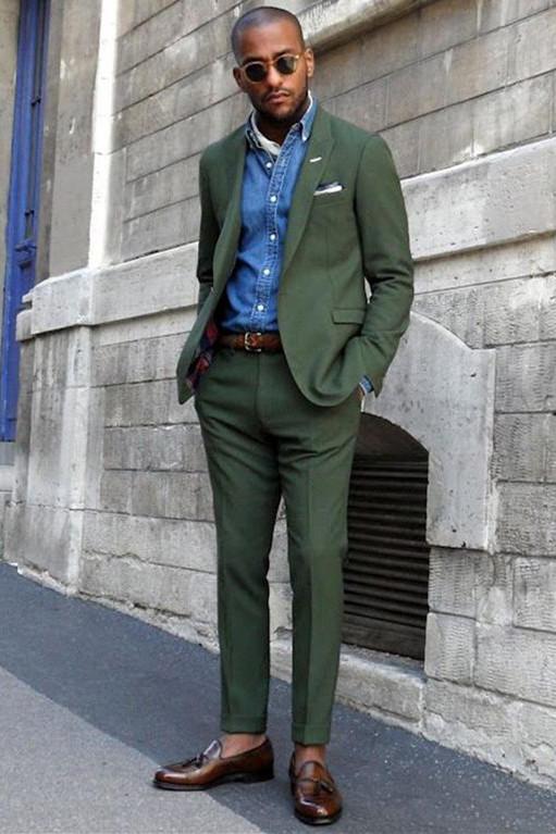 Talon Dark Green Peaked Lapel Slim Fit Bespoke Men Suits
