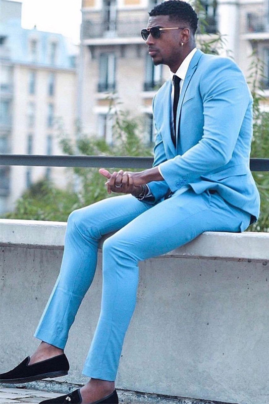 Guillermo Bespoke Blue Slim Fit Two Pieces Prom Outfits for Men