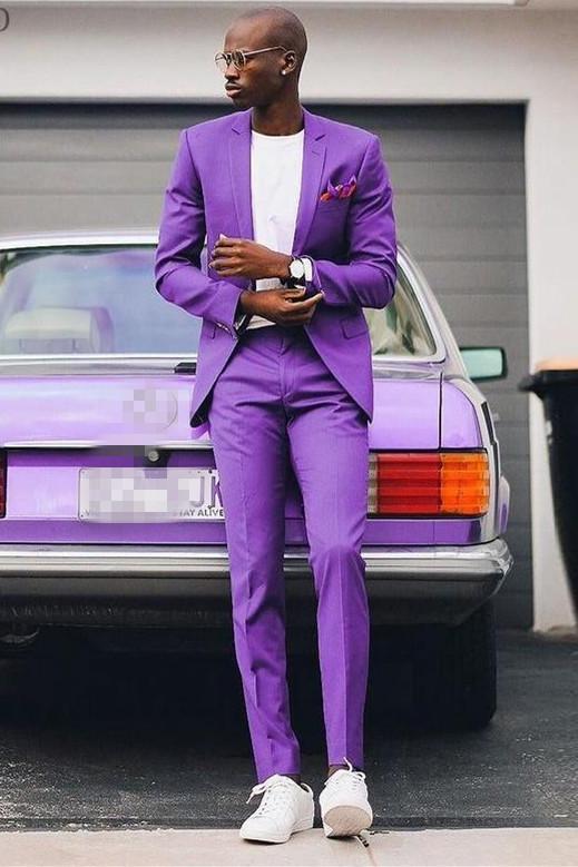Ezequiel Purple Bespoke Notched Lapel Prom Suits for Boy