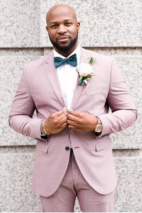 Pierce Pink Stylish Bespoke Notched Lapel Groomsmen Suits