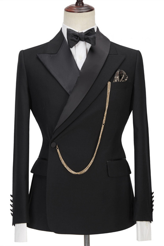 Jadon Black Peaked Lapel Fashion Slim Fit Formal Business Men Suits