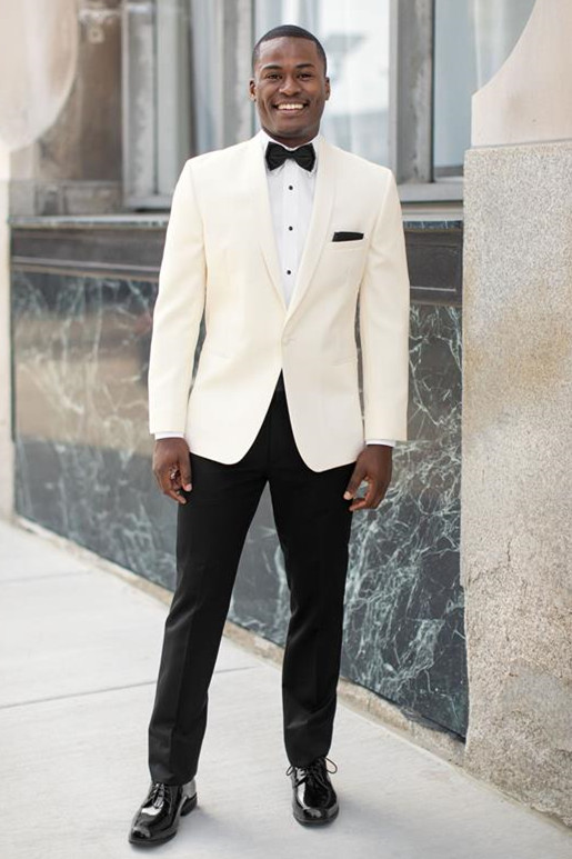 Rodney Simple and Handsome White Shawl Lapel Wedding Men Suits