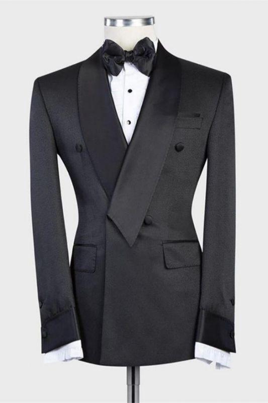 Isaias Stylish Black Double Breasted Shawl Lapel Wedding Men Suit