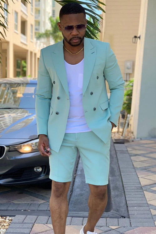 Bruce Summer Green Fashion Peaked Lapel Men Suits for Prom